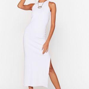 High Ribbed Midi Dress
